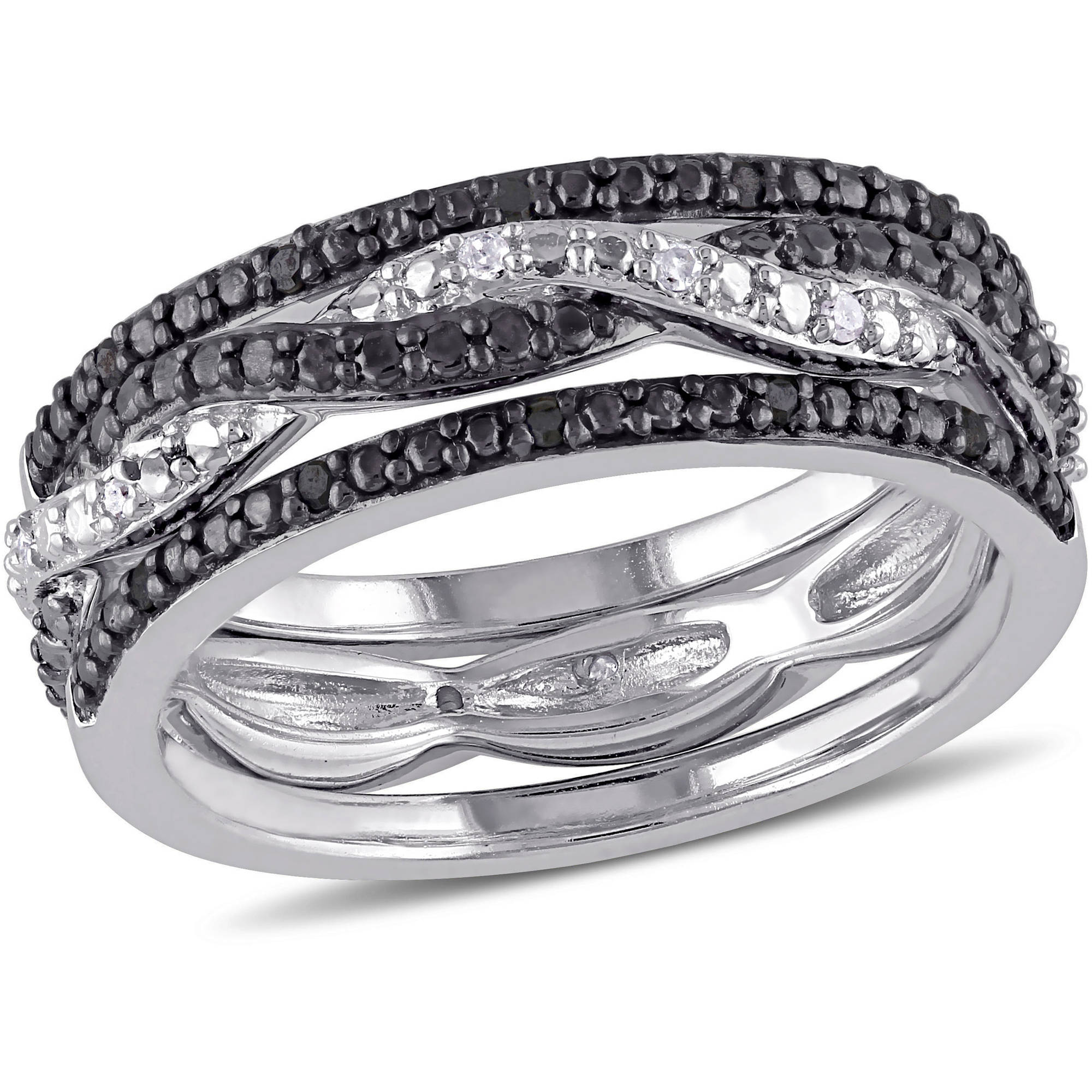 Black and White 1/10 T.W. Diamond Sterling Silver Set of Three Anniversary Ring