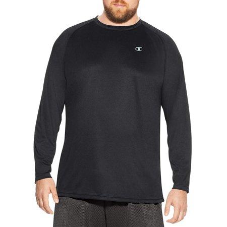 Champion Men's Big and Tall Long Sleeve Vapor Tee (Black, XLT) Black Xlt Shirt