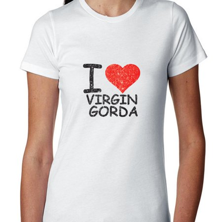 I Love Virgin Gorda With Big Red Heart Womens Cotton T Shirt