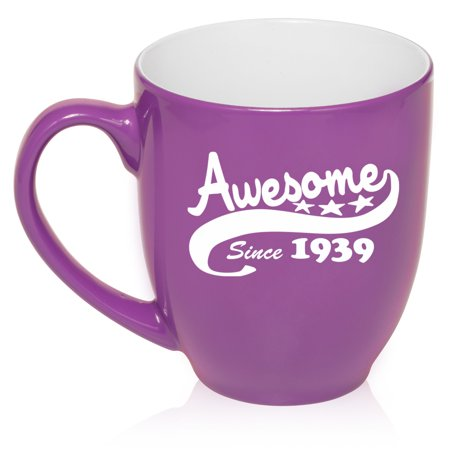 16 oz Large Bistro Mug Ceramic Coffee Tea Glass Cup Awesome Since 1939 80th Birthday (Large Glass Mug)
