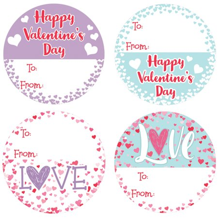 - Valentines Day Gift Tag Stickers - 60 count - Valentines Day Gift Wrap Tags - 60 Count Round Labels