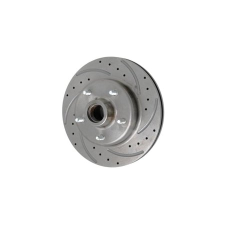 Drop Spindle Disc (Eckler's Premier  Products 57191479 Chevy Front Disc Brake Rotor Drilled Slotted & Vented For Dropped Spindles Right )