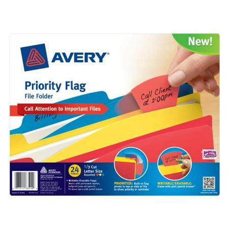 avery dennison priority flag file folders ltr 24 pk assorted