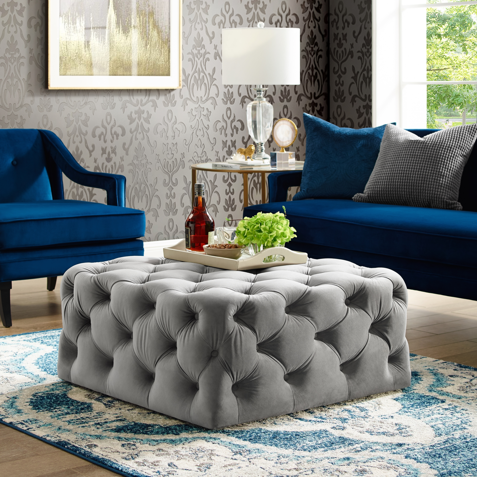 Vernon Grey Velvet Cocktail Ottoman - Allover Tufted | Square | Castered Legs | Modern Contemporary