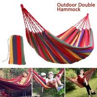 Portable Outdoor Double Hammock Garden Camping Patio Beach Travel Swing Hang Carry Case