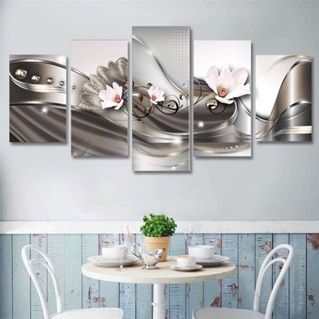 Art - 5 Panels Abstract  Flowers Canvas Prints Painting for Bedroom/Living Room Wall Art Decoration Wooden (Abstract Wooden Wall)
