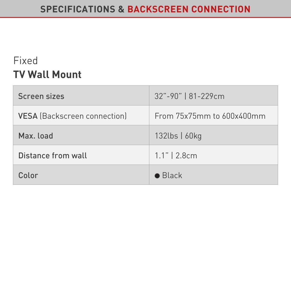 Barkan Fixed TV Wall Mount 32 - 90 inch Low Profile Auto Locking Patent Lifetime Warranty - Walmart.com - Walmart.com