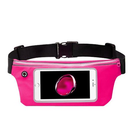 Premium Sports Activity Waist Pack Pocket Belt for BlackBerry KEYone, Motion, DTEK70, Mercury, DTEK60, Priv, Q10, Z10, Passport, Z30, Bold 9900, Classic (Hot Pink) + MND Mini Stylus