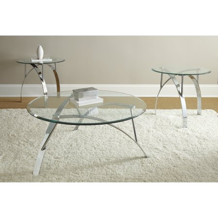 Steve Silver Xavier Round Chrome And Glass Coffee Table Set