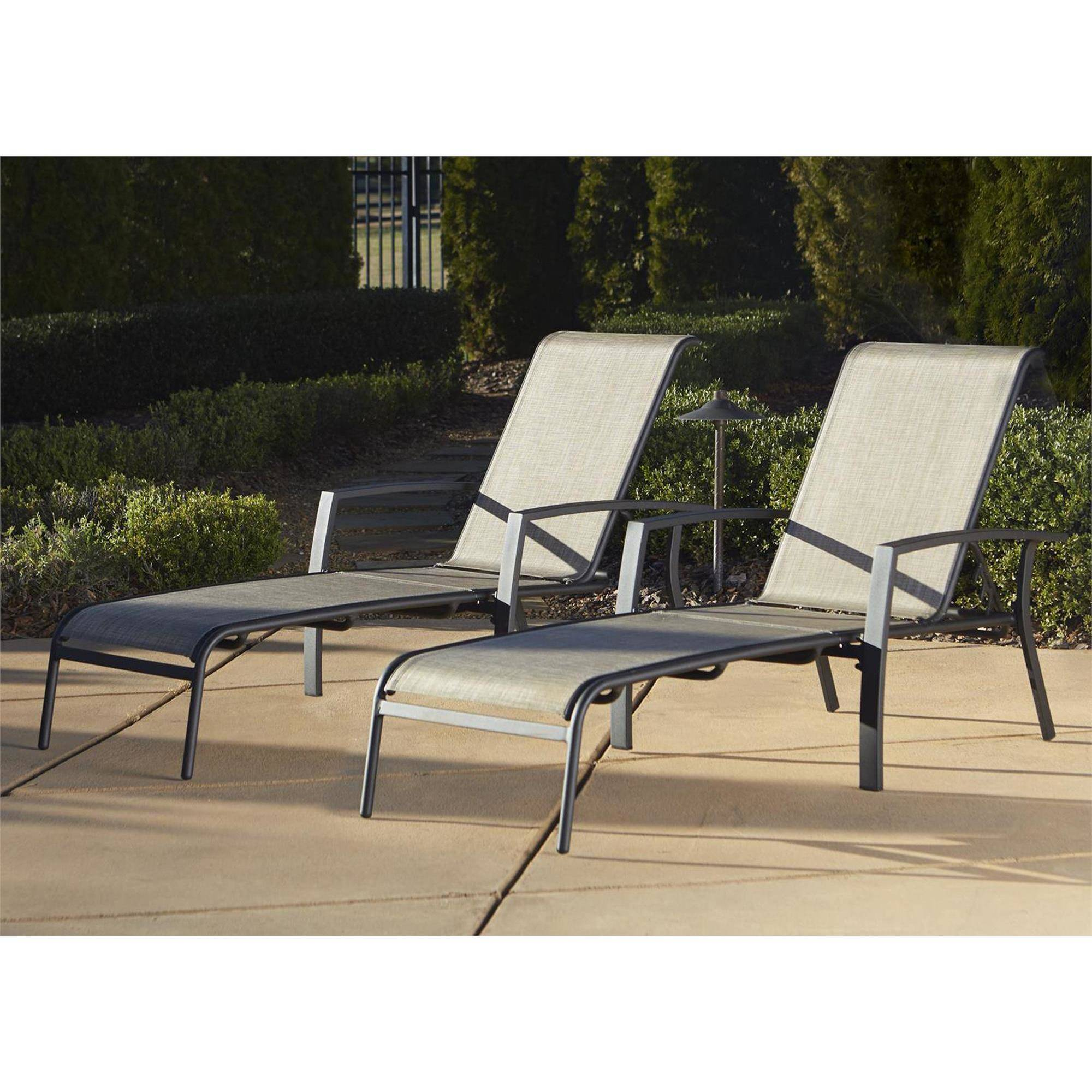 Cosco Outdoor Adjustable Aluminum Chaise Lounge Chair Serene Ridge Set, 2 Pack, Dark Brown