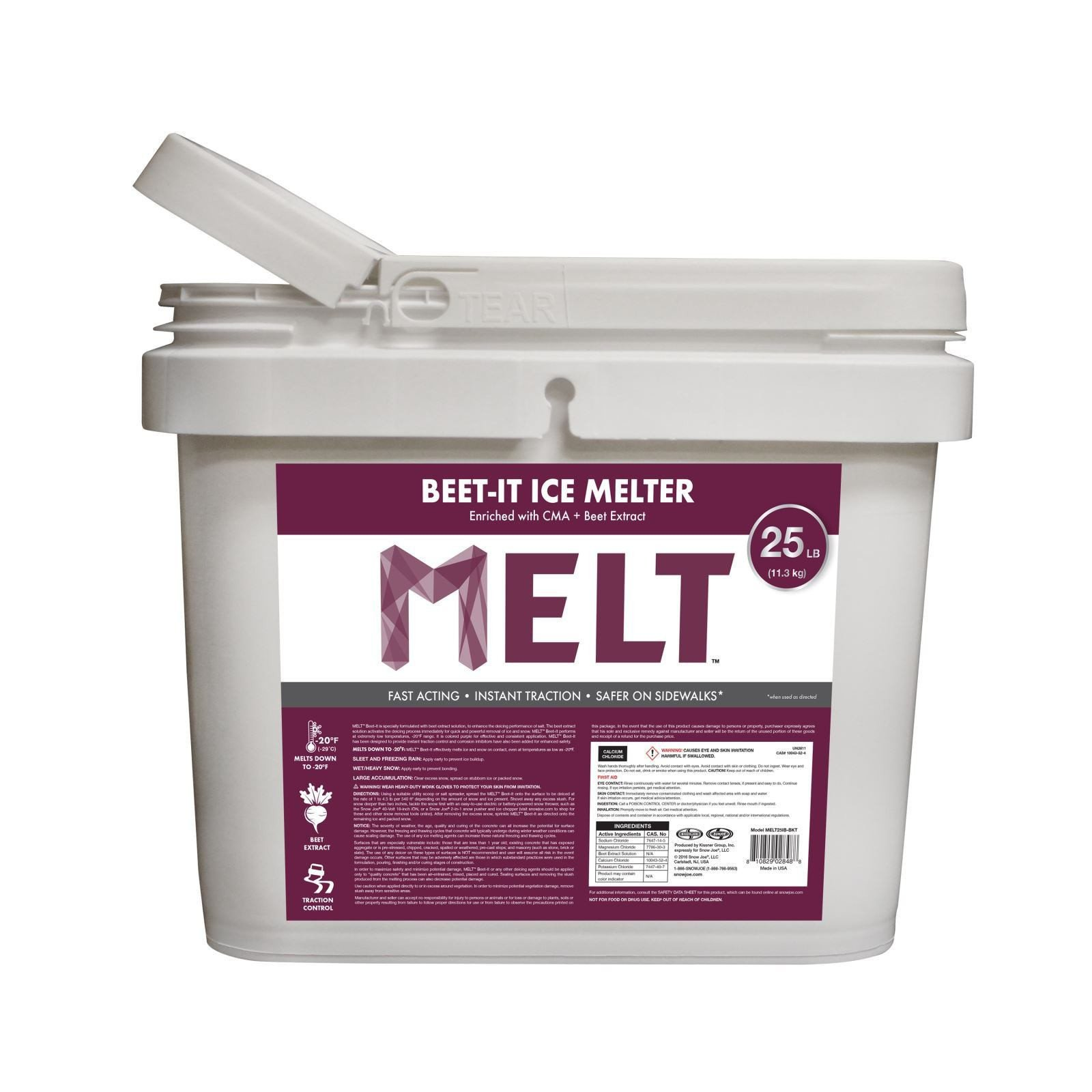 Snow Joe Beet It Snow and Ice Melter with CMA and Beet Extract 25 Pound Bucket