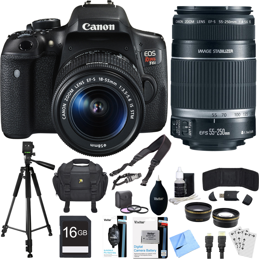 Canon EOS Rebel T6i Digital SLR Camera Kit with EF-S 18-55mm and 55-250mm Lens Bundle includes Camera, Lenses, 16GB SDHC Memory Card, Bag, Tripod, 59mm Filter Kit, Beach Camera Cloth and More