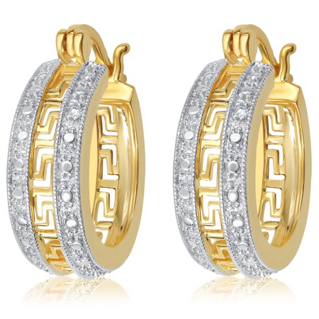 Gorgeous 0.02 Cttw Natural Diamond Accent Greek Key Hoop Earrings In 14 K Yellow Gold Plated by Diamond Princess