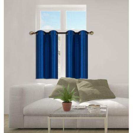 D24 Royal Blue 2-Piece Energy Saving Room Darkening Grommet Top Window Curtain Set, 2 Blackout Panels For Short - Royal Blue Two Piece