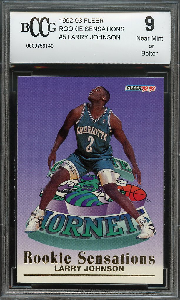 1992 93 Fleer Rookie Sensations 5 Larry Johnson Hornets Rookie Card Bgs Bccg 9
