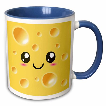 3dRose Cute Kawaii Happy Yellow Swiss Cheese with holes a smiley face and rosy cheeks - Adorable Foods - Two Tone Blue Mug, 11-ounce (Halloween Cheese Ball Face)