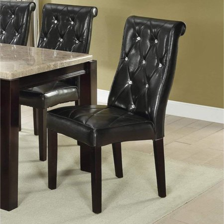 Set of 2 Casual Black Faux Leather Dining Chairs with Accent Diamond Button (Set Diamond Accents)