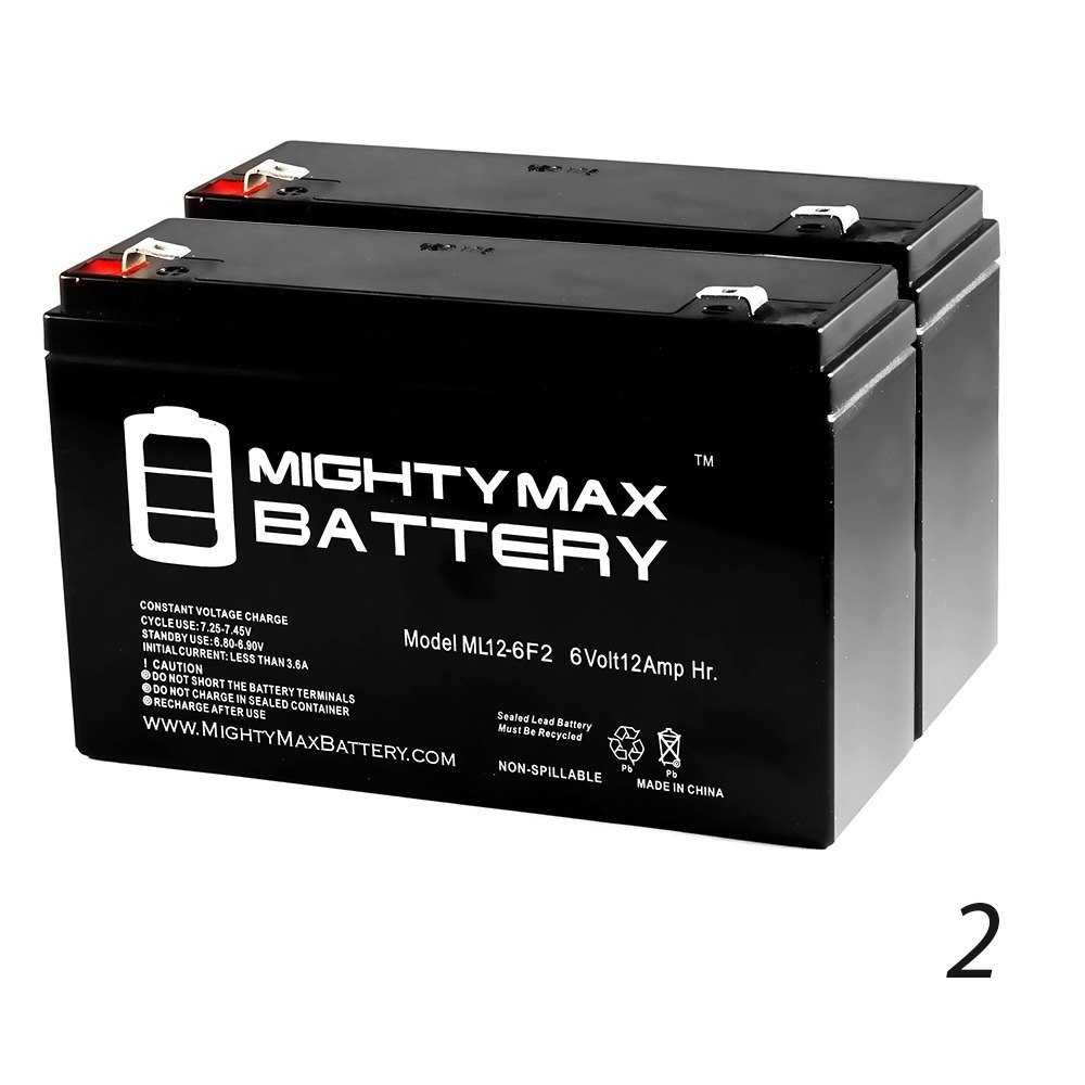 6V 12AH F2 Replaces Pace Tech Vitalmax 500 Pulse Oximeter - 2 Pack