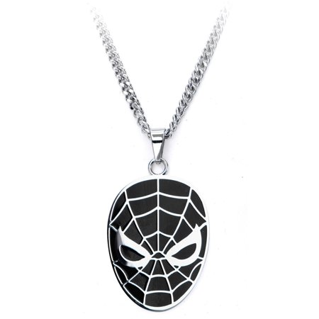 Marvel Spiderman Face Steel Pendant with Chain](Spiderman Jewelry)
