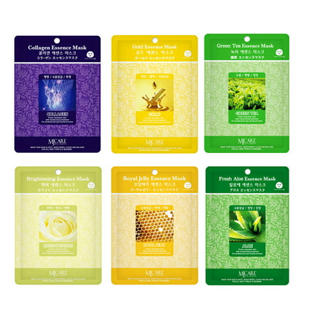 Skin Care Treatment Mask Pack Collagen, Gold, Brightening, Aloe, Green Tea, Royal Jelly Moisture Essence Face Facial Mask Package 6 Pcs (2 Pack of Each) - Korean Cosmetic Facial Beauty (Green Facial Mask)
