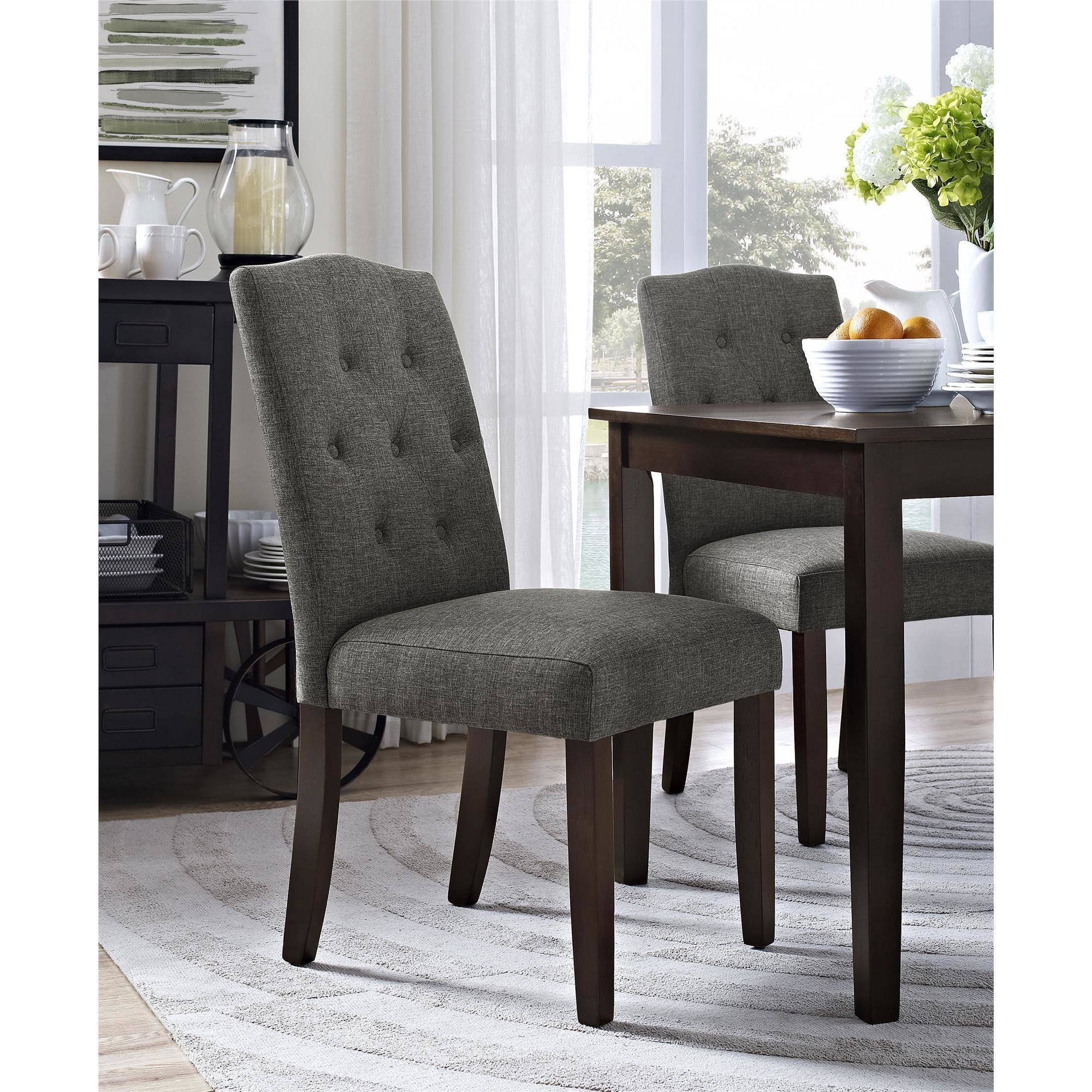 Better Homes and Gardens Parsons Tufted Dining Chair, Gray by