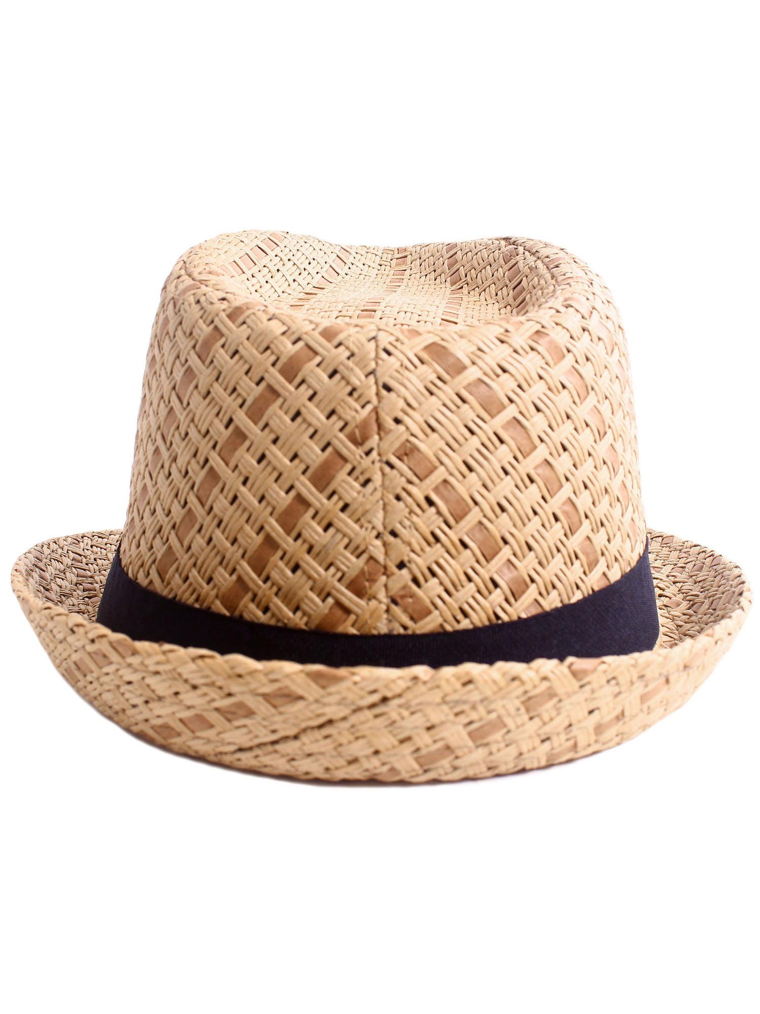 Simplicity - Men   Women s Summer Vintage Straw Fedora Hat 745 Brown Small  Medium - Walmart.com 1d7333a0d12a