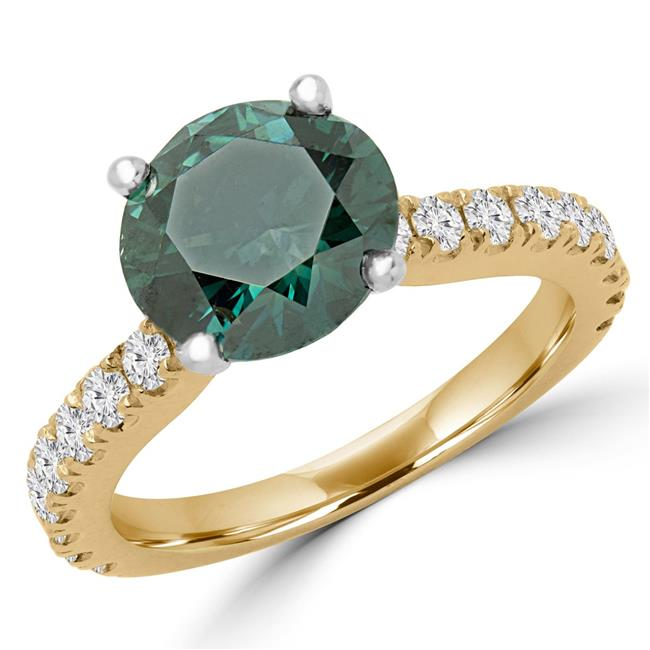 Majesty Diamonds MD170093-4.75 3 CTW Round Green Diamond Solitaire with Accents Engagement Ring in 14K Yellow Gold with Accents - 4.75
