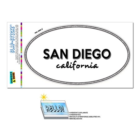 San Diego, CA - California - Black and White - City State - Oval Laminated Sticker (Party City San Diego Ca)
