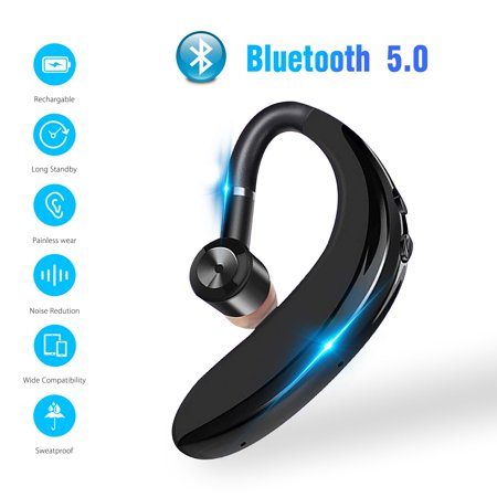 Bluetooth Headset, EEEKit Wireless Bluetooth 5.0 Noise Cancellation Hands Free Earpiece Built-in Mic for Driving Business Office, Compatible with iPhone and Android