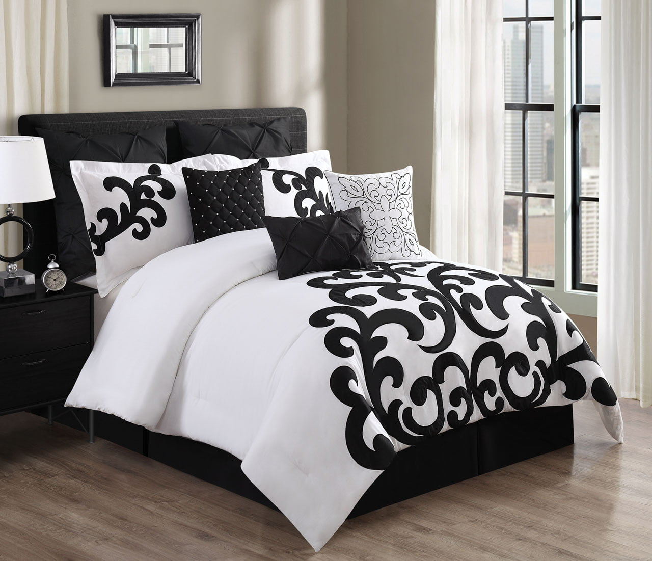9 Piece Empress 100 Cotton Black White Comforter Set Walmart Com Walmart Com