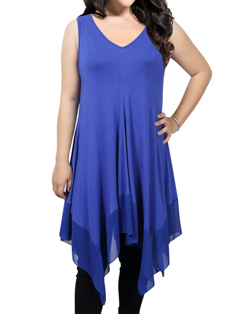Kojooin Women Plus Size Solid Sleeveless Tunic for Leggings Swing Flare Tank Tops