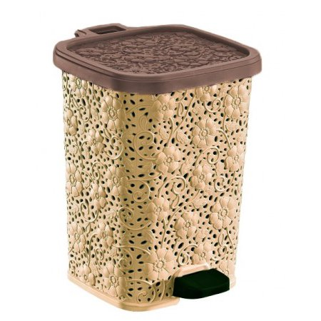 Superio Step-On Trash Can, Lace Design, 27 Qt.-Beige and Brown