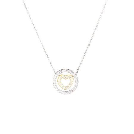 Mode Simple Cercle Coeur Pendentif Collier Embedded Cristal Clavicule Chaîne Femmes Bijoux - image 2 of 7