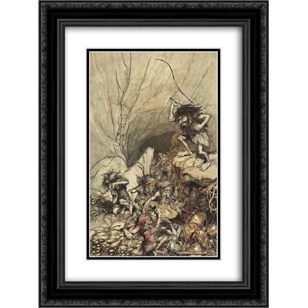 Arthur Rackham 2x Matted 18x24 Black Ornate Framed Art Print 'Alberich drives in a band of Niblungs laden with gold and silver treasure'