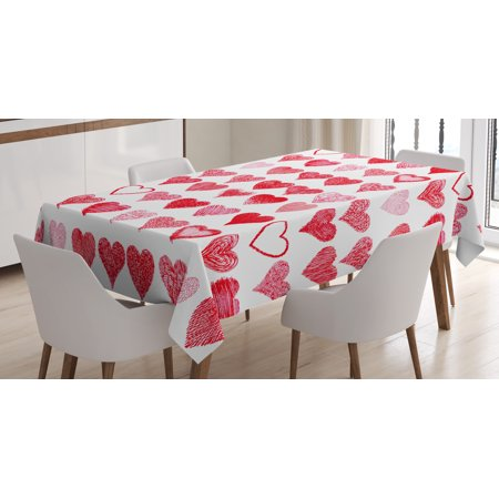 Valentines Day Tablecloth, Hearts Collection Symbols of Love Hand Drawn Style Romantic Art, Rectangular Table Cover for Dining Room Kitchen, 52 X 70 Inches, Vermilion Pink White, by Ambesonne - Valentine Tablecloth