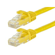 Monoprice Flexboot Cat5e Ethernet Patch Cable - Network Internet Cord - RJ45, Stranded, 350Mhz, UTP, Pure Bare Copper Wire, 24AWG, 7ft, Yellow