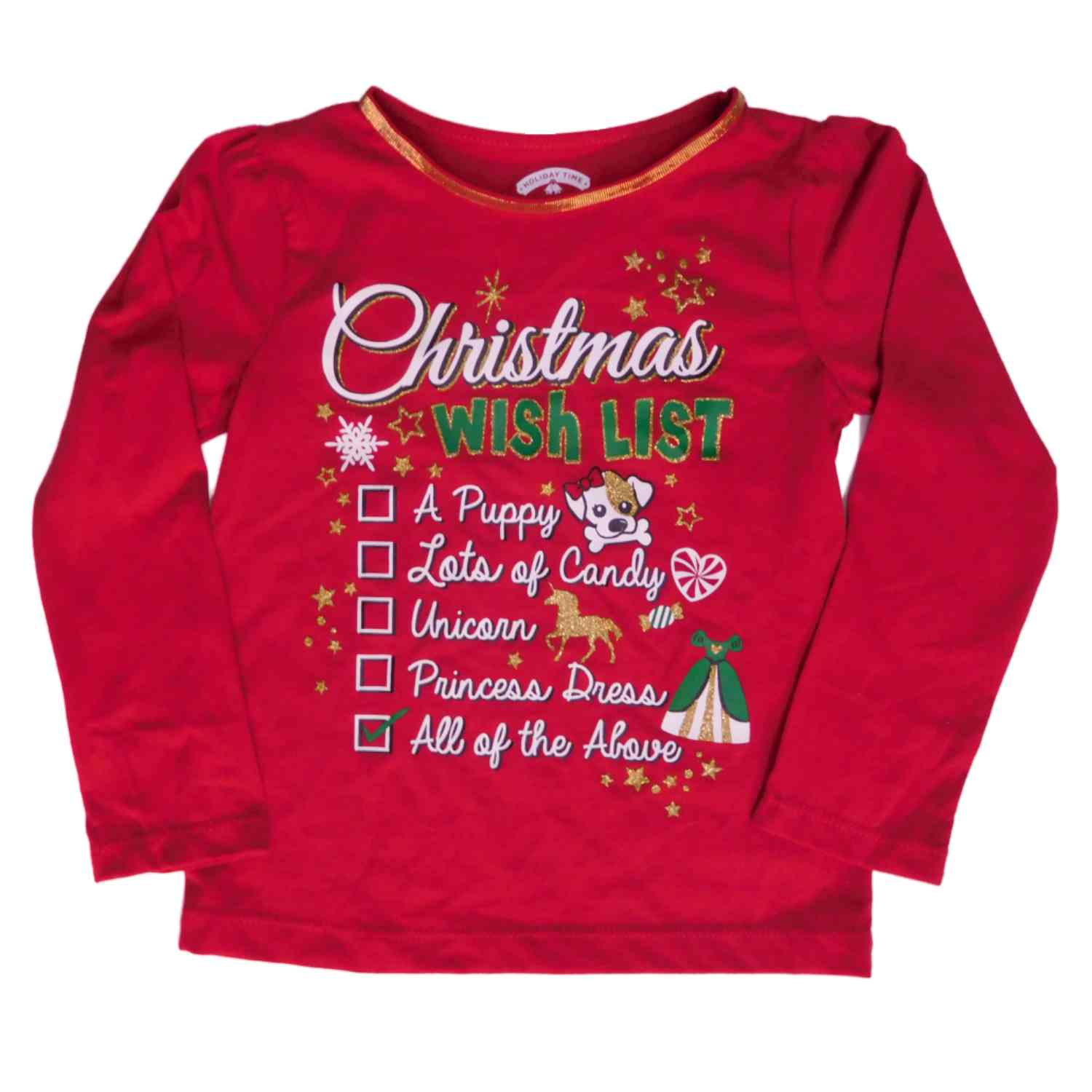 Infant Toddler Girls Red Christmas Wish List T-Shirt Tee Shirt