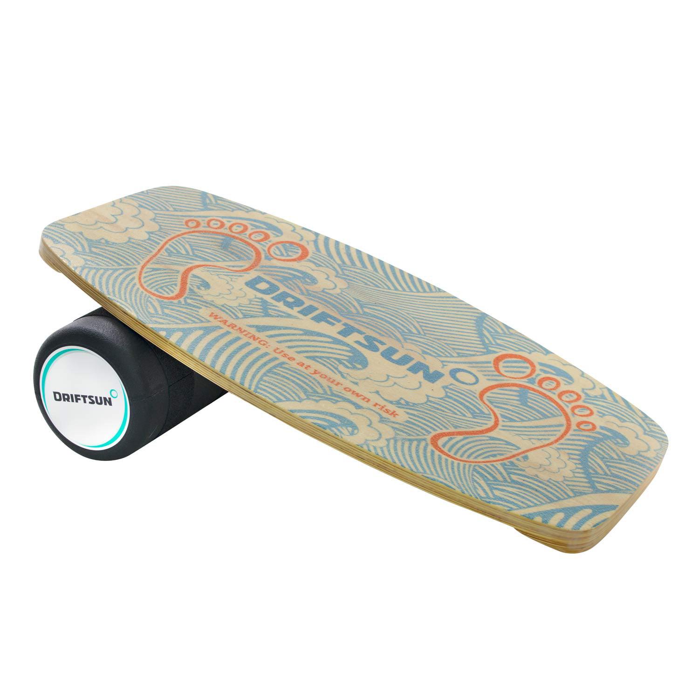Driftsun Wooden Balance Board Premium Balance Trainer with Roller for Surf, SUP, Wakesurf, Wakeskate, Ski, Snowboard and... by Driftsun