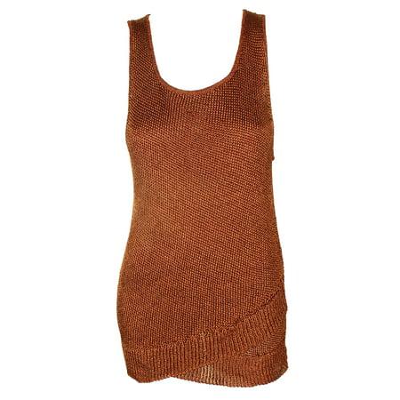 Bar Iii Burnt Umber Sleeveless Metallic-Knit Sweater Tank Top L