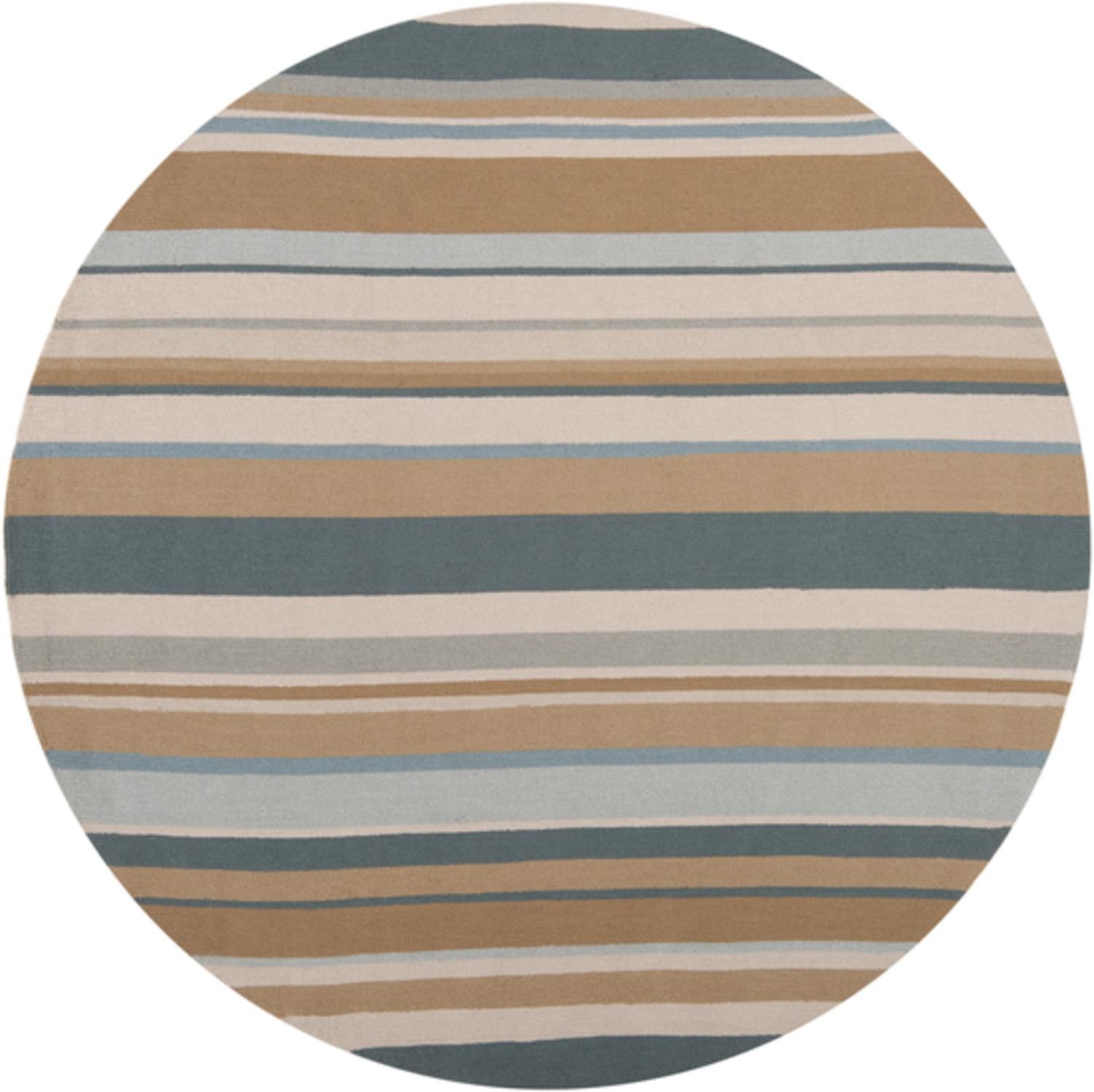 8' Stupendous Stripes Forest Green and Tan Round Outdoor Area Throw Rug