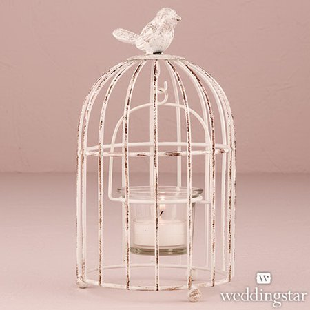 Bird Holder - Weddingstar 9580-08 Small Metal Birdcage with Suspended Tealight Holder White