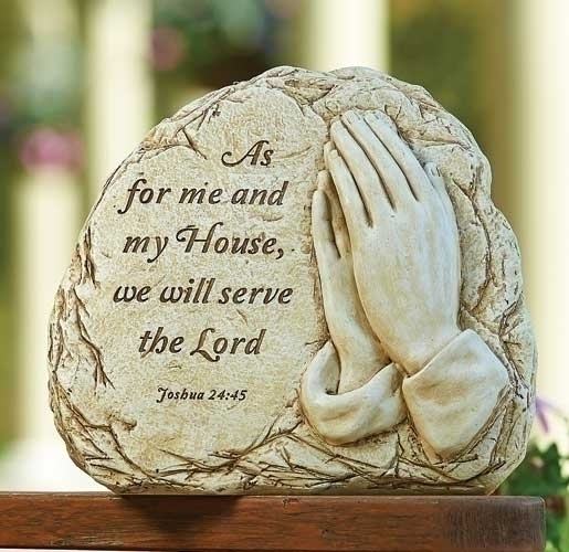 "11.25"" Biblical ""As for Me and My House"" Religious Decorative Outdoor Garden Patio Stone"
