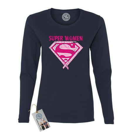 Breast Cancer Awareness Superwoman Womens Long Sleeve T Shirt](Female Superwoman)