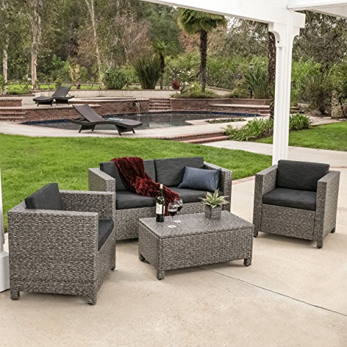 Venice Outdoor Patio Furniture 4 Piece Grey U0026 Black Sofa Seating Set W/  Cushions
