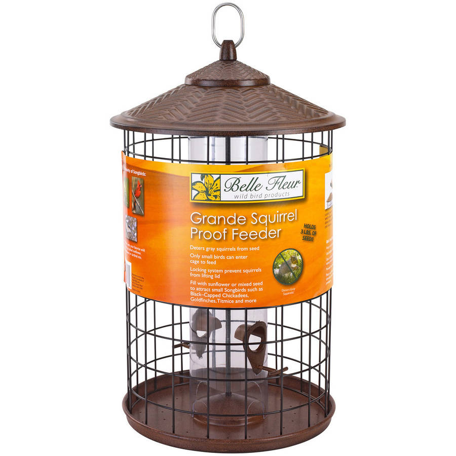 Belle Fleur Grande Squirrel Proof Birdfeeder with 4 Feeding Ports and catch-tray,... by Hiatt Manufacturing