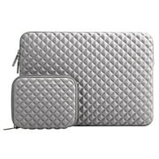 Mosiso Diamond Foam Water Repellent Lycra Laptop Sleeve Bag for 13-13.3 Inch MacBook Pro/Air,Notebook with Small Case,Gray