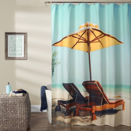 Beach Chair Shower Curtain Blue Yellow