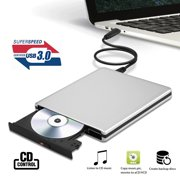 Portable Slim External USB 3.0 DVD CD Drive Burner Reader Player For Laptop PC for Win10/8.1/8/Vista/7/Windows2K/XP/2003, Linux, Mac 10 OS system