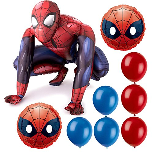 Spiderman Air Walker Balloon By Anagram and 12-inch Red and Blue Pixiss Balloons Bundle,Spiderman Airwalker