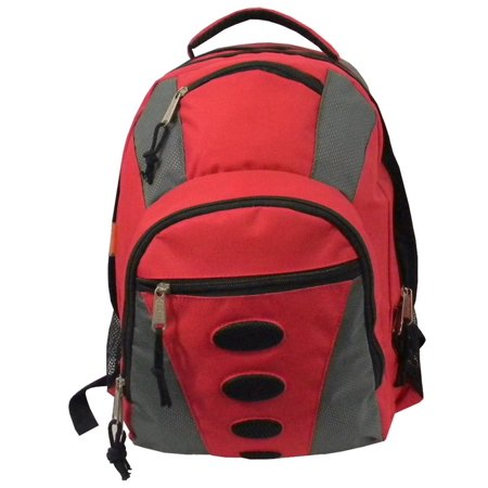 Student Bookbag Medium Daily Backpack Student School Bag 16.5 inch Casual Travel Daypack w/ Padded Back, Padded handle, Organizer & Side Mesh Pockets Red/Grey